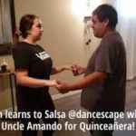 Salsa Dance Crash Course @danceScape with Caitlyn & her Uncle for Quinceañera!